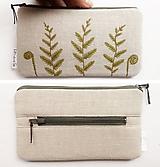Peňaženky - Peňaženka - Pápradie (natur 100% ľan) - 10995782_