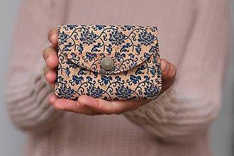 Peňaženky - Harmoniková korková peňaženka - modrý vzor - 10997664_