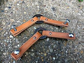 Iný materiál - Kožené úchytky s krúžkom, dvojité - 10997494_