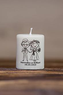 Darčeky pre svadobčanov - Menovka alebo darček pre svadobčanov - Sviečka - Vzor č.10 (B) - 10995064_
