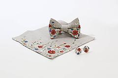 "Doplnky - Ručne maľovaný exkluzívny set - motýlik, vreckovka a manžetové gombíky ""Lúčne kvety"" - 10997810_"