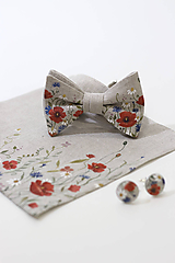 "Doplnky - Ručne maľovaný exkluzívny set - motýlik, vreckovka a manžetové gombíky ""Lúčne kvety"" - 10997811_"
