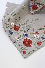 "Doplnky - Ručne maľovaný exkluzívny set - motýlik, vreckovka a manžetové gombíky ""Lúčne kvety"" - 10997814_"