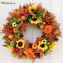 Dekorácie - Veľký jesenný veniec 42 cm - 10997233_