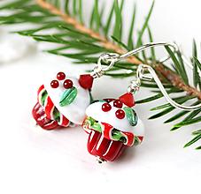 Náušnice - Vianočný muffin náušnice /l-108 - 10996459_