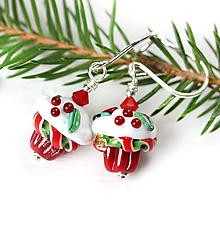Náušnice - Vianočný muffin náušnice /l-108 (zapinanie regular) - 10996465_