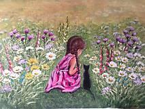 Obrazy - Dievčatko s mačičkou - 10997059_