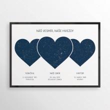 Grafika - SRDCIA, nočná obloha 3v1, minimalistická modrá - 10996094_