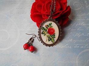 Sady šperkov - Červený púčik - 10997619_