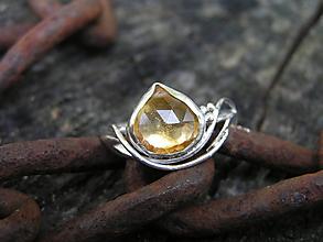 Prstene - Strieborny prsteň Ag 925 Citrín - 10996278_