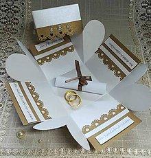 Papiernictvo - Zlatoperleťová krabička a obálka - 10996878_