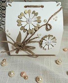 Papiernictvo - Krabička smotanovo- zlatá s kvietkom - 10997031_