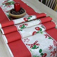 Úžitkový textil - HILDA - Zmes vianočných vzorov  - stredový obrus - 10997362_