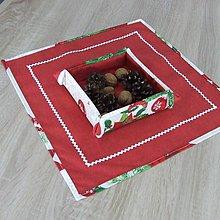 Úžitkový textil - HILDA - Zmes vianočných vzorov  - štvorec červený 40x40 - 10997443_
