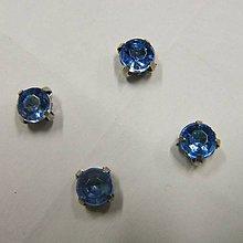 Iný materiál - štrasové kamienky kruhové 6 mm sklenené (svetlomodrá) - 10996680_