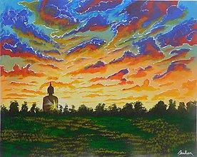 Obrazy - Socha Budhy pri západe slnka - 10996351_