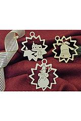 Vianočné ozdoby - Kostolík, snehuliak, zvonček (X11)