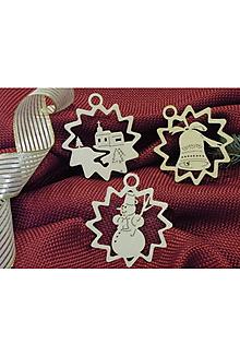 Dekorácie - Vianočné ozdoby - Kostolík, snehuliak, zvonček (X11) - 10996638_