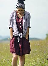 Šaty - Bordó šaty lněné - 10997751_