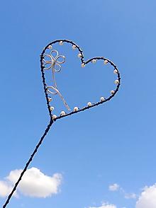 Dekorácie - maľujem ti kvety do srdca...zápich (Biela) - 10998788_