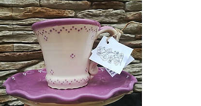 Nádoby - Keramická šálka na kávu,čaj + tanierik na dobroty - 10998708_