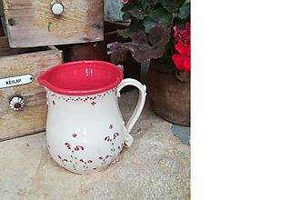 Nádoby - Maxi červený keramický džbán kvetinka - 10998723_