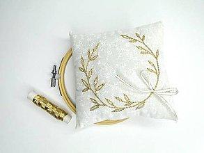 Prstene - Svadobný vankúšik pod obrúčky (Zlatý veniec) - 10999510_