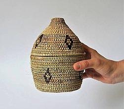 Krabičky - Prútená šperkovnica | Bohemian wicker jewelry box straw and natural leather - 10998684_