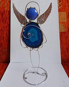 Dekorácie - Anjel achátový modrý - 11000290_