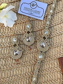 Sady šperkov - Ručne šitý set Zuzana - starozlatá / Soutache earrings&bracelet - olgold - Swarovski®️crystals - 11000426_