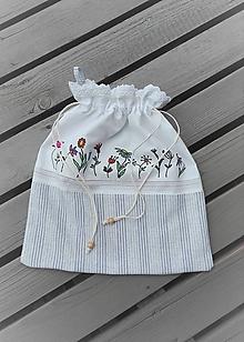 Úžitkový textil - Ľanové vrecúško vintage_ ručne maľované II. - 10998625_