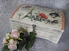 Krabičky - Originální truhla,šperkovnice - vintage s krajkou - 11000545_