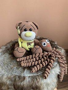 Hračky - medvedík a chobotnička - SET hnedo/žltý - 10999236_