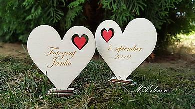 Darčeky pre svadobčanov - obojstranná menovka ( srdce) - 11000560_