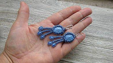 Náušnice - Náušničky šité so strapčekmi modré - striebro 925, č. 2843 - 10999138_