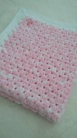 Textil - Hačkovaná detská deka - nežná ružová - 11000212_