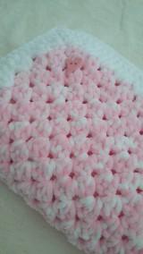 Textil - Hačkovaná detská deka - nežná ružová - 11000215_