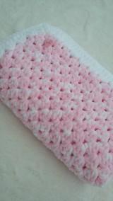 Textil - Hačkovaná detská deka - nežná ružová - 11000217_