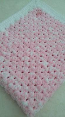 Textil - Hačkovaná detská deka - nežná ružová - 11000208_