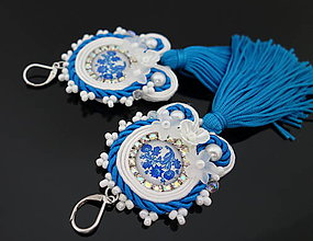 Náušnice - Bielo-modré náušnice - 10999457_