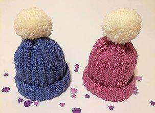 Detské čiapky - Čiapočka pom-pom (Modrá) - 11000116_
