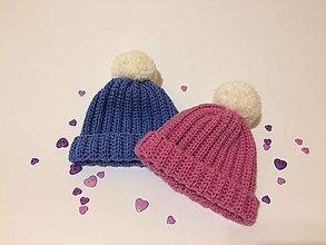 Detské čiapky - Čiapočka pom-pom (Modrá) - 11000117_