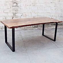 Nábytok - Jedálensky stôl z masívneho manga v industriálnom štýle - 10998767_