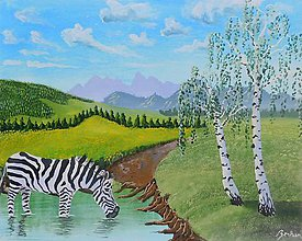 Obrazy - Zebra pri brezách - 10999421_