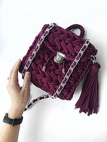 Šatky - LUXUSNÍ RUČNĚ hačkovaný ruksak MARSALA VINO - 10998880_
