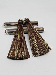Polotovary - Veľké hodvábne strapčeky - pár- zľava (Hnedá) - 11000384_