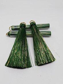 Polotovary - Veľké hodvábne strapčeky - pár (Tmavozelená) - 11000388_