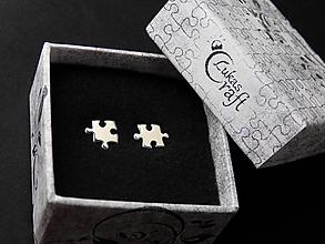 Náušnice - Puzzle napichovačky - 10998052_
