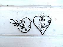 Dekorácie - Srdiečko + vtáčik - 10998314_