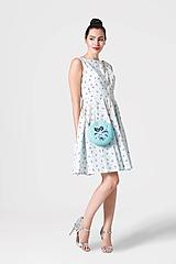 Šaty - Šaty bledomodré s mini ružičkami - 11000995_